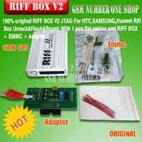 100% original RIFF BOX JTAG para HTC SAMSUNG huawei Riff caja desbloquear y Flash y reparación con cables planos y RIFF caja EMMC adaptador