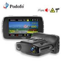 Detector de Radar Podofo 3 en 1 DVR GPS Cámara Logger Dash Cam Detector de Radar para Rusia láser Ambarella 1080 p LDWS registrador