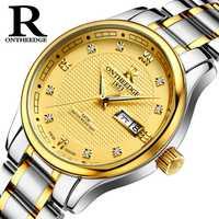 2018 más nuevo oro reloj automático con Romano oro 3D aplicado índice marcador especial diseño mecánico jam tangan pria otomatis