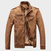 Hommes vestes en cuir hiver chaud Faux polaire Plus épais chaud manteaux Biker moto velours coupe-vent vêtements d'extérieur M-3XL ML025