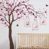 Cherry blossom Tree Wall Decals del cuarto del bebé gran árbol con flores Adhesivos de pared para niños habitación vinilo pared tatuaje a401