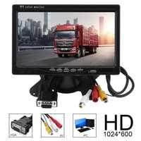 1024x600 7 pulgadas coche Monitor de Color brillante interfaz VGA TFT LCD AV Revers Monitor retrovisor