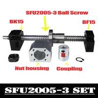 CNC husillo de bolas conjunto: 20 MM bola tornillo SFU2005 extremo mecanizado + RM2005 bola tuerca + BK15 BF15 final soporte + acoplador 6,35 x 12mm para 2005
