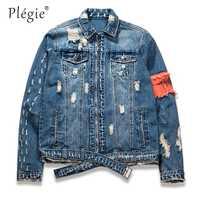 Plegie hombres Ripped Jeans cinta chaquetas lavado Patchwork apenado Denim 2018 Mens Slim Fit Streetwear HipHop chaqueta Vintage