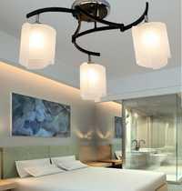 Luces de techo de hierro de cristal breve dormitorio sala de estar luces de estudio restaurante amp balancín brazo iluminación 3 lámparas de techo de cabeza méxico