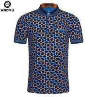 Camisa Polo para hombre de moda de verano de 2018 de manga corta de patrón geométrico Camisa delgada para hombres polos Camisa Polo Masculina de talla grande