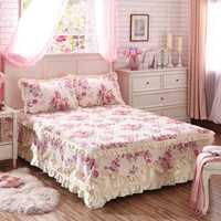 Nuevo juego de falda de cama coreana para cama gruesa sábanas de cama 100% algodón acolchado colcha pastoral Flor de encaje sábana unids de cama 3 piezas rey