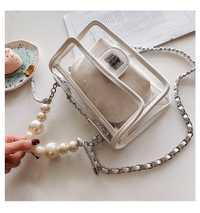 Bolso transparente de mujer de cuero de PVC sólido claro colorido bolso de mensajero vintage de mujer Cadena de hombro bolso de perlas bolso de mano