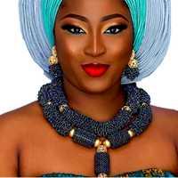 De Lujo Africana nupcial de la joyería de traje gargantilla azul oscuro Dubai conjuntos de joyas para mujeres envío gratis 2018 nigeriano joyería