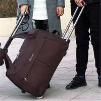 Gran tamaño rueda carretilla del equipaje bolsas de viaje mano Unisex gran capacidad bolsas de viaje maleta con ruedas