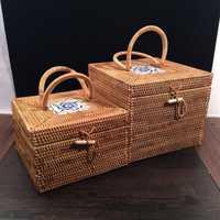 Caja de joyería cosmética vintage organizador de maquillaje cajas de ratán con tapas de caja de almacenamiento de ratán de lata de té