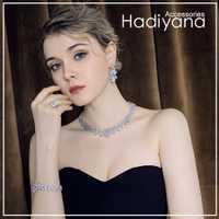 Hadiyana Bijoux Femme Ensemble Bijoux de mariage Ensembles Pour Femmes Mousseux AAA Zircon Cuivre De Mode parure de Bijoux de Demoiselle D'honneur CN184