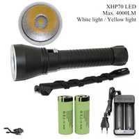 Cree XHP70 LED jaune/blanc lumière 4000 Lumens plongée lampe de poche 26650 torche sous-marine 100M xhp70.2 chasse sous-marine LED lampe de plongée