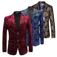 Blazer de terciopelo plateado para hombre chaquetas florales de Paisley vino rojo dorado etapa traje chaqueta elegante boda hombres Blazer talla grande M-6XL