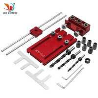 Herramienta de carpintería DIY carpintería alta precisión Tacos jigs kit 3in1 localizador de perforación guía de perforación kit rojo