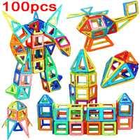 100 Uds. Bloques de construcción magnéticos de gran tamaño de diseño Juguetes DIY bloques de construcción cuadrados de bloques de construcción Regalo de Cumpleaños de Navidad
