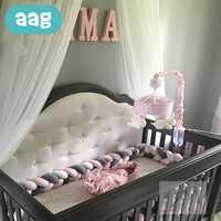 AAG 2 M/3 M/4 M recién nacido cama de bebé parachoques tejido de nudo cuna parachoques larga nudo trenza almohada bebé decoración de la habitación de los niños ropa de cama