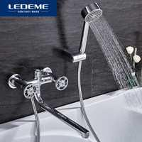 LEDEME robinets de douche mitigeur à Long nez salle de bain robinets de douche robinet de baignoire mitigeur avec douchette ensembles L2289