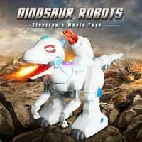 Juguetes de Control remoto Robots interactivos eléctrico interactivo juguetes de dinosaurios caminando dragón de fuego y los dinosaurios para juegos juguetes de los niños