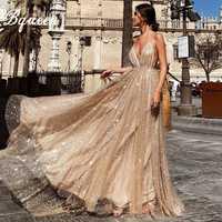 Bqueen Sexy lentejuelas vestido de las mujeres V profunda de la correa de espagueti de oro elegante Vestidos Clubwear vestido de fiesta en Club 2019 Vestidos de verano
