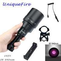 UniqueFire 1605 IR 940NM linterna LED 67mm de la Lente de la luz infrarroja visión nocturna antorcha 3 Modo recargable KIT SET para de caza