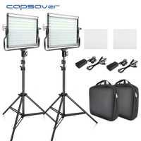 Capsaver L4500 2 juegos de vídeo de luz LED Kit de trípode regulable Bi-color 3200 K-5600 K CRI 95 estudio lámpara de foto Panel de Metal