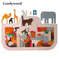Candywood nueva llegada de los niños juguetes de madera juguetes de gran 50*30 CM Arca de Noé rompecabezas en juguetes para niños temprano aprendizaje rompecabezas Juguetes