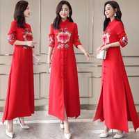 Rojo de moda negro Cheongsam Vestido chino tradicional Tang traje bordado estilo Retro de corte Slim Vestido de las mujeres Vestido elegante