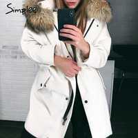 Simplee de piel sintética de empalme con capucha de pana gruesa chaqueta de invierno cálido acolchado suave abrigo de mujer 2018 solapa streetwear abrigo de moda de