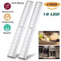 Sensor de movimiento LED luz nocturna 18 LED Lumen lámpara inalámbrica gabinete luces cocina armario iluminación de emergencia movimiento AAA Batería 2