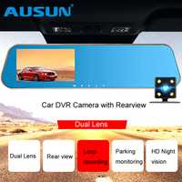 AUSUN Cámara DVR Dashcam Registrator Video Recorder W/revisión espejo g-sensor Night Vision Auto lente Dual 4,3 pulgadas Dash Cam