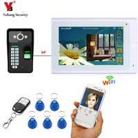 YobangSecurity WiFi inalámbrico Video de la puerta del timbre del teléfono de intercomunicación sistema de cámara de huellas dactilares RFID contraseña con Display LCD de 7 pulgadas