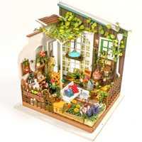 3D Puzzle Kawaii Diy Dollhouse miniatura muebles hechos a mano sol jardín casa muebles modelo Kit Dollhouse juguetes niños regalos