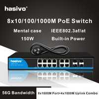 8 Port gigabit PoE interruptor etherner interruptor 4 puerto gigabit uplink combo 4TC gigabit switch