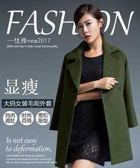 Más tamaño 2XL-7XL grandes yardas mujeres abrigo de invierno abrigo de lana nuevo estilo casual copia lana manteau femme