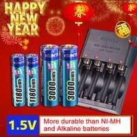 KENTLI 4 piezas de 1,5 v aa aaa baterías de Li-ion recargable de polímero Li-polímero batería de litio + 2 ranuras AA AAA de iones de litio cargador inteligente