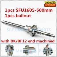 16mm ballscrew 1605 C7 SFU1605 tornillo de bola L = 500mm con una sola tuerca de bola para CNC parte BK/BF12 final de procesamiento