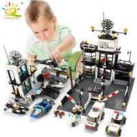 Estación de Policía de la prisión Van bloques de construcción de juguetes Compatible Legoing ciudad helicóptero DIY ilumine ladrillos juguetes para los niños