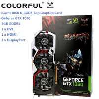 Original colorido iGame 1060 U-3GD5 superior tarjeta gráfica GeForce GTX 1060 GPU Chip 192bit 3 GB GDDR5 120 W tres ventiladores ventilador de refrigeración