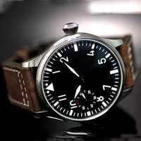 Envío Gratis 44mm clásico negro dial parnis luminosa makrs asia 6497 movimiento mecánico relojes mano sinuoso reloj PA01