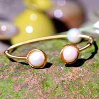 Pulsera de perlas de agua dulce Real siete chicas para mujer boda partido ajustable abierto barroca perla brazaletes encanto pulsera joyería