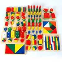 14 unids/set geometría forma herramienta de aprendizaje combinación materiales Montessori de juguetes educativos de madera de enseñanza SIDA