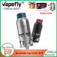 Regalo gratis Vapefly Brunhilde Top Coiler RTA Tank 8 ml/2 ml W alrededor de la parte superior de flujo de aire doble bobina de construcción vaporizador de cigarrillo electrónico de cubierta