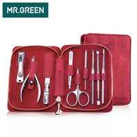 El señor verde 9 en 1 multi-función Herramientas uñas clippers manicura profesional de acero inoxidable uñas clippers tijeras kit de aseo