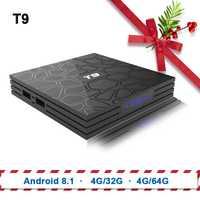 TV Box T9 Android 8.1 Bluetooth Rockchip RK3328 4 GB RAM 32 GB/64 GB 4 K Google Lecteur soutien 2.4 GHz WiFi HD 4 K Smart Set top box