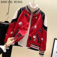 Primavera y otoño chaqueta del bombardero del béisbol del gato del bordado rojo casual manga larga mujeres abrigo