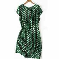 Vestido de seda de verano para mujer con cuello redondo lunares Vintage vestidos de seda Natural vestido elegante verde talla grande vestido de seda real