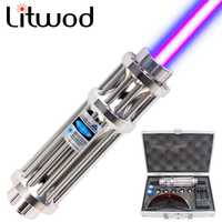 16340 MW lápiz láser puntero láser azul luz cigarrillo y haz de fósforo módulo Lazer + 1200 batería + cargador + caja