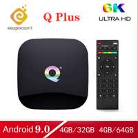 Android 9.0 TV Box Q Plus boîte 64GB 4GB 32GB Smart TV Box Allwinner H6 Quad Core 6K H.265 2.4GHz Wifi Youtube décodeur PK X96