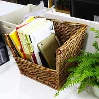 Venta caliente hecha a mano cesta estantería escritorio antiguo maestro pintado a mano de Diseño Popular mimbre ecológico estante